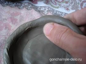 Лепка сосуда жгутиками