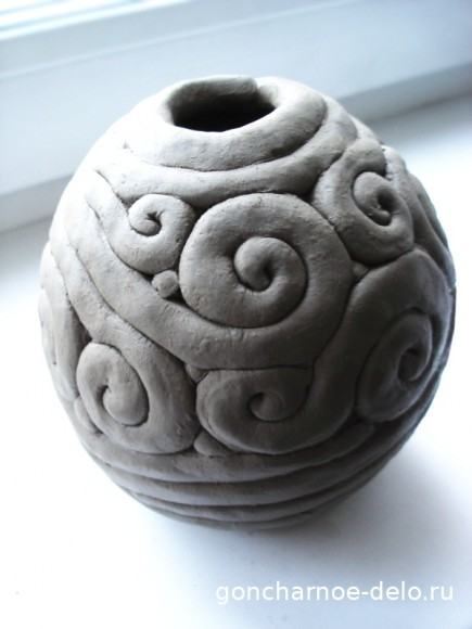 Лепка из глины жгутиками. Ваза
