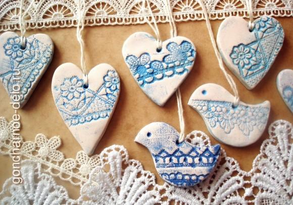Ready lace pendants. Clay molding