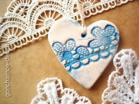 Лепим из глины. Кружевное сердце