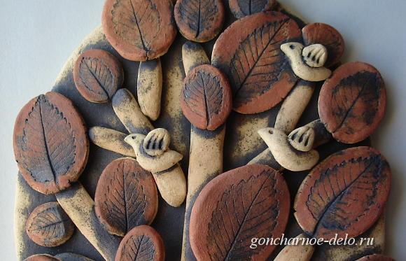 Декорируем панно. Ангобы и оксид меди